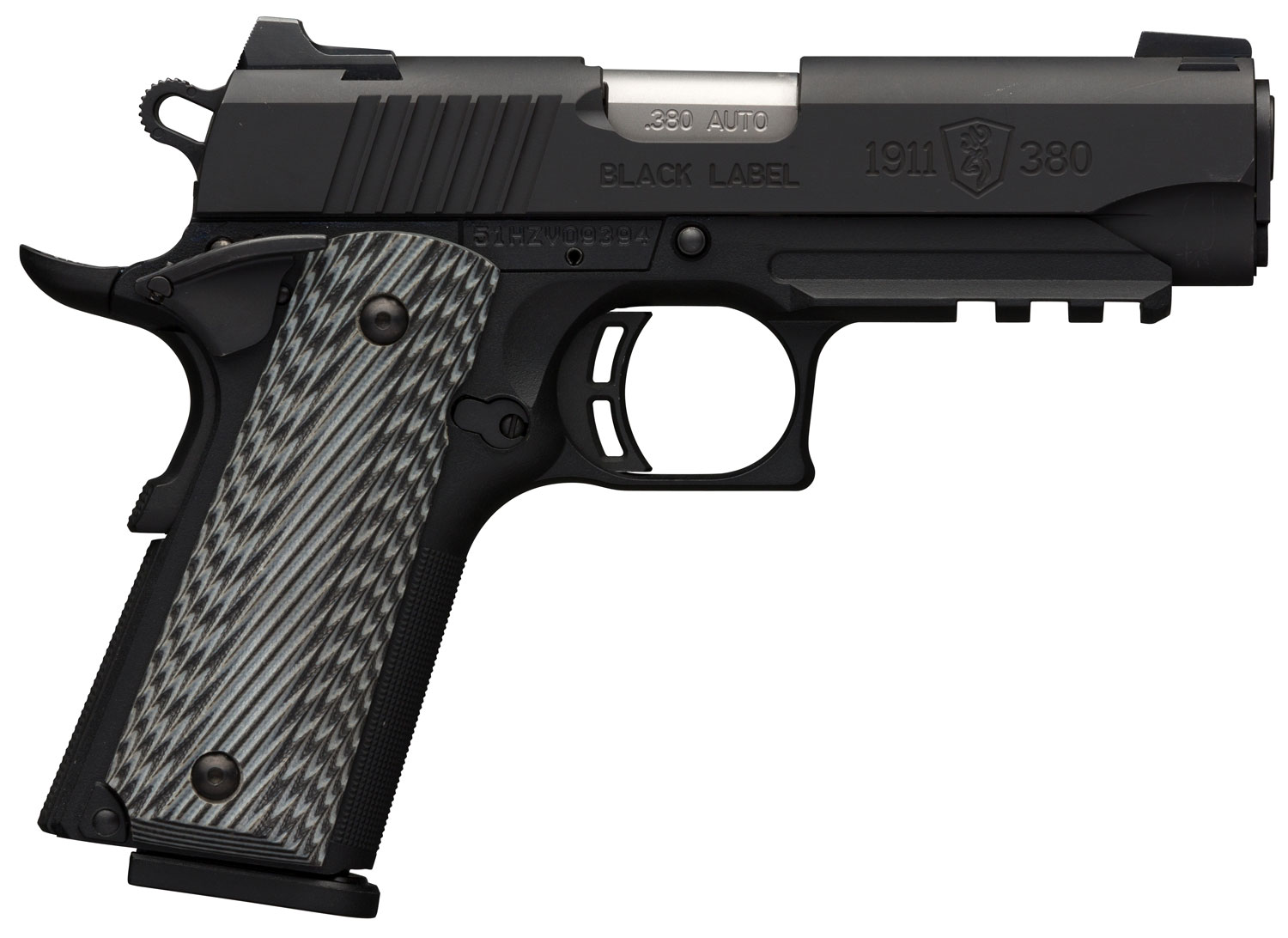 Browning 051909492 1911-380 Black Label Pro Compact with Rail Single 380 Automatic Colt Pistol (ACP) 3.625