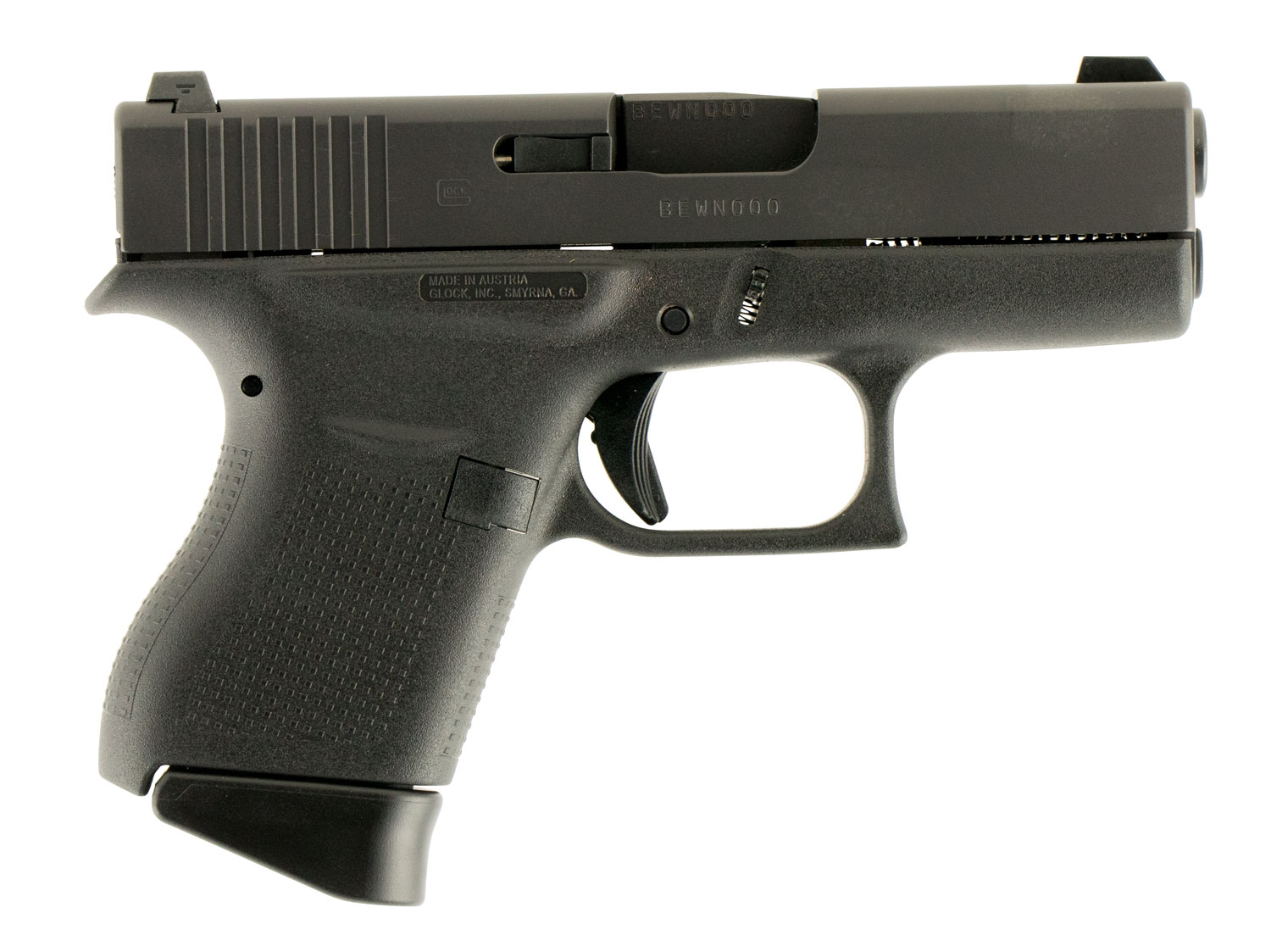 Glock PN4350701 G43 Subcompact Double 9mm Luger 6+1 GNS Black Polymer Grip/Frame Grip Black