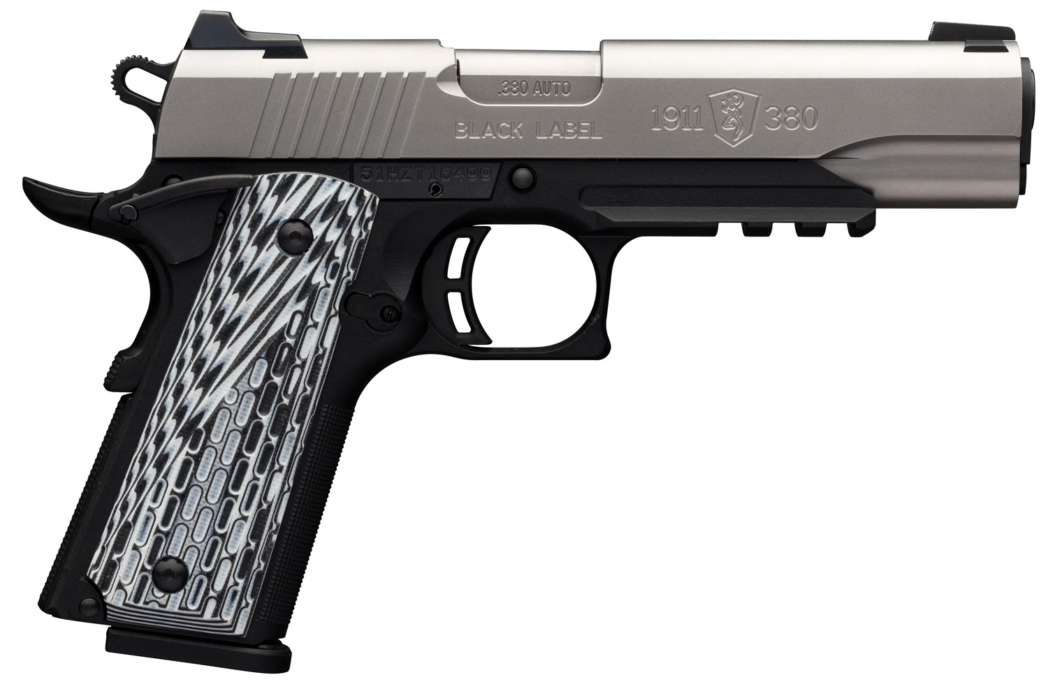 Browning 051923492 1911-380 Black Label Pro with Rail Single 380 Automatic Colt Pistol (ACP) 4.25