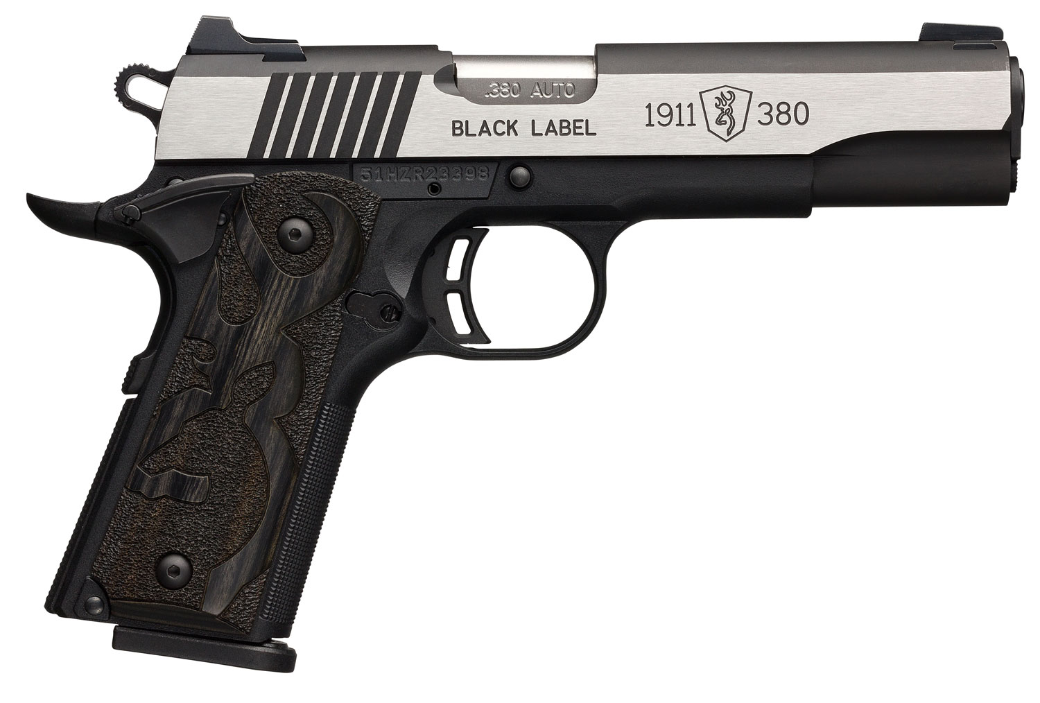 Browning 1911-380 Black Label Medallion Pro with Night Sights Single 380 Automatic Colt Pistol (ACP) 4.25