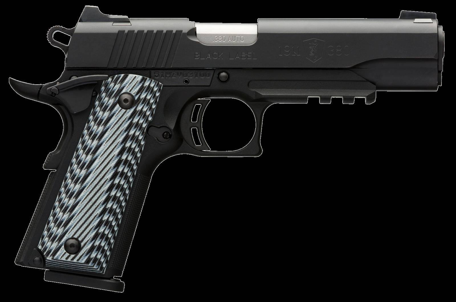 Browning 051907492 1911-380 Black Label Pro with Rail Single 380 Automatic Colt Pistol (ACP) 4.25