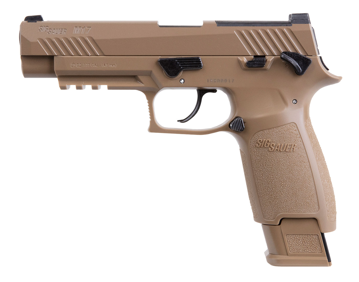 Sig Sauer Airguns AIRM17177 P320 M17 ASP Air Pistol Double CO2 .177 Pellet 20 rd Coyote Polymer Frame Coyote Stainless Steel PVD Slide