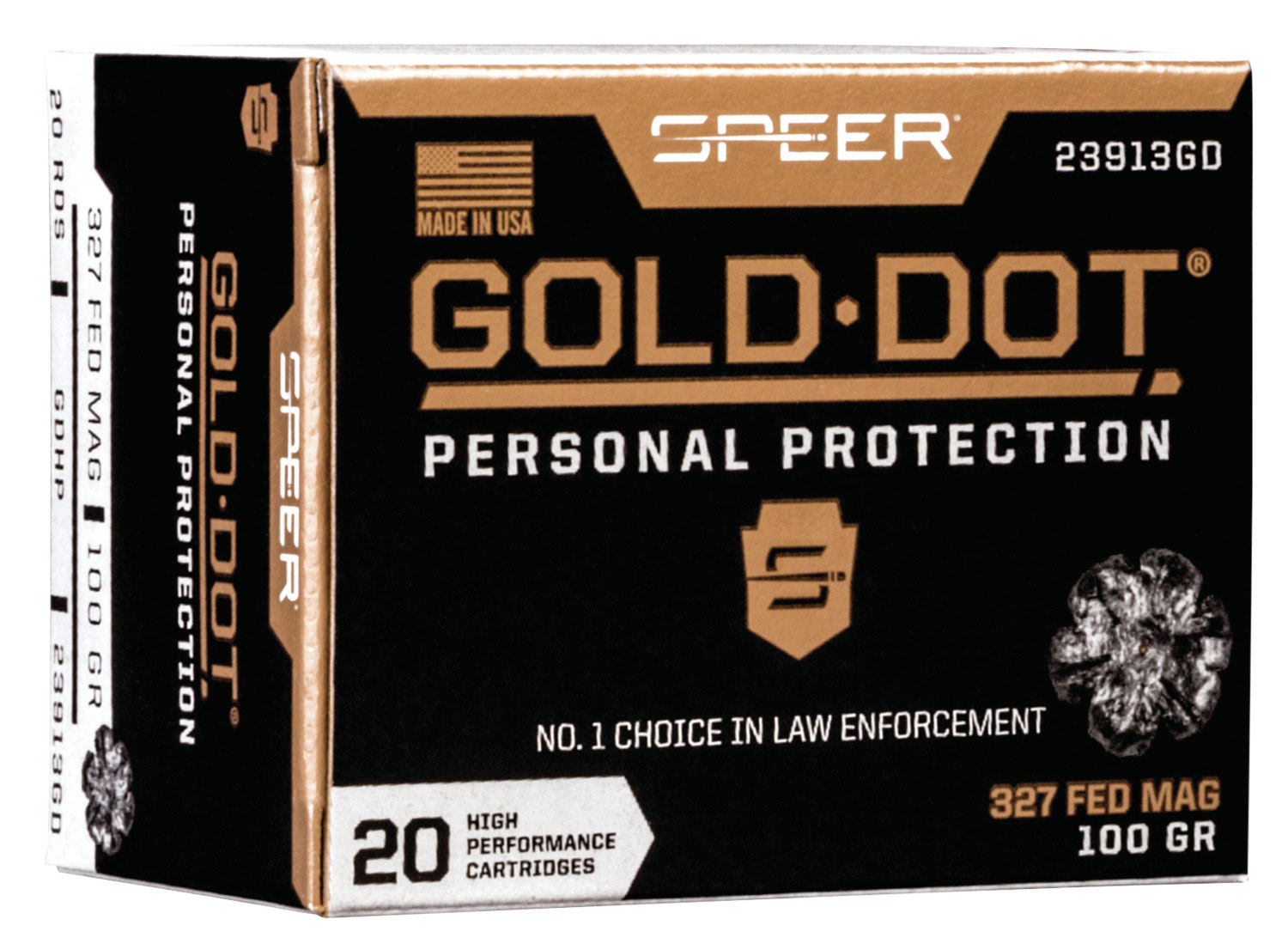 Speer Ammo 23913GD Gold Dot Personal Protection  327 Federal Magnum 100 GR Hollow Point 20 Bx/ 10 Cs