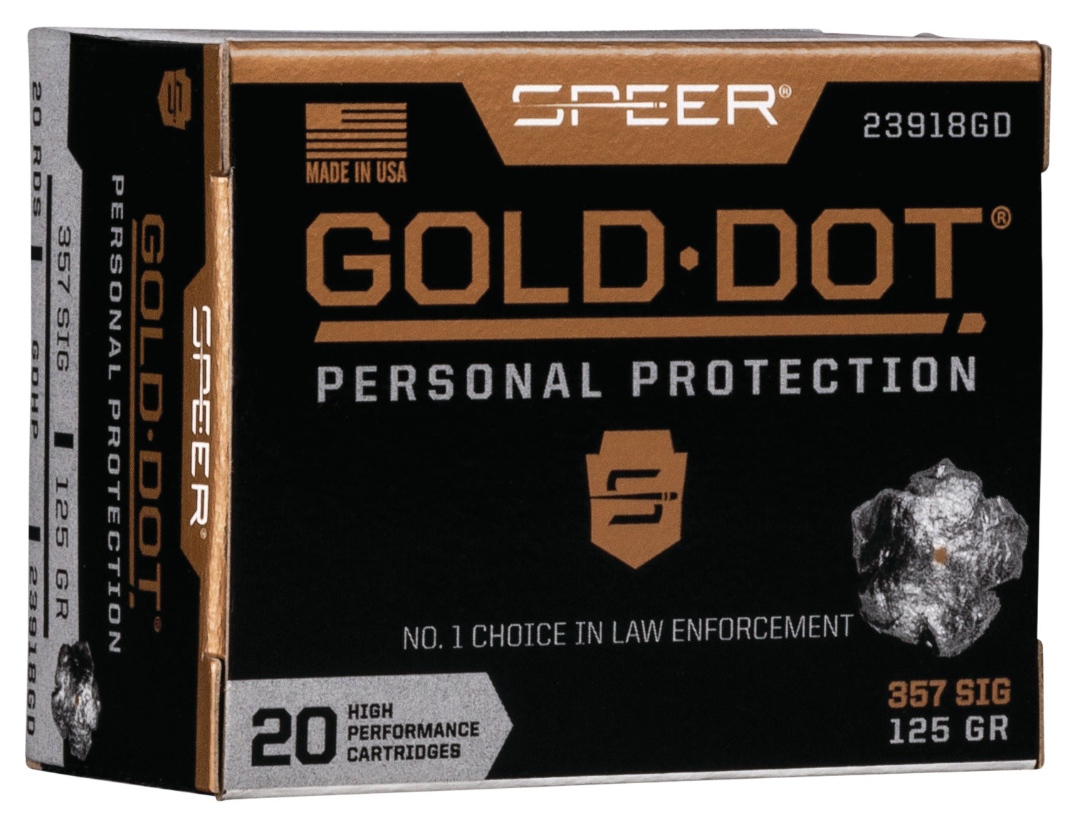 Speer Ammo 23918GD Gold Dot Personal Protection  357 Sig 125 GR Hollow Point 20 Bx/ 10 Cs