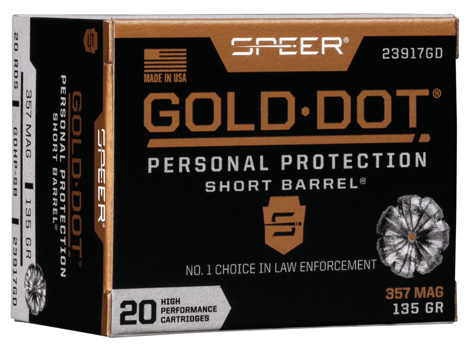Speer Ammo 23917GD Gold Dot Personal Protection  357 Magnum 135 GR Hollow Point Short Barrel 20 Bx/ 10 Cs